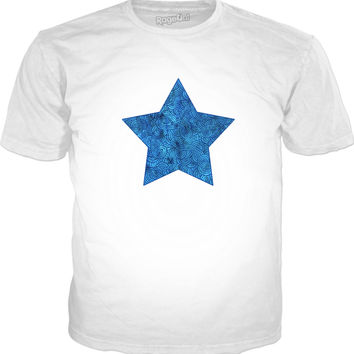 Turquoise blue swirls doodles star Classic T-Shirt White