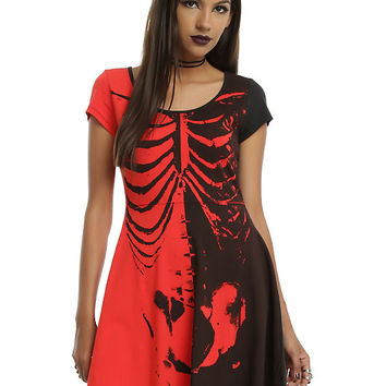 Iron Fist x Ash Costello Bat Royalty Rib Cage Black & Red Dress