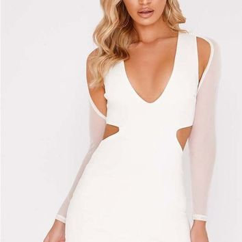 SARAH ASHCROFT WHITE MESH SLEEVE MINI DRESS