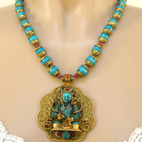 Tibetan Turquoise and Ruby Prayer Pendant Statement Necklace
