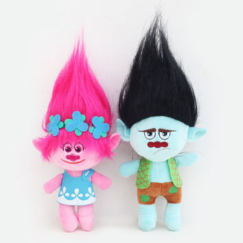 23-35cm Hot sale 2017 NEW Movie Trolls Plush Toy Poppy Branch Dream Works Stuffed Cartoon Dolls The Good Luck Trolls Christmas G