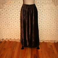 Brown Velvet Maxi Skirt Fall Skirt Hippie Skirt Boho Skirt Gypsy Skirt Bohemian Women Skirts Vintage Skirt 2X 3X Womens Plus Size Clothing