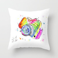 Watercolor Camera Throw Pillow by Trinity Bennett