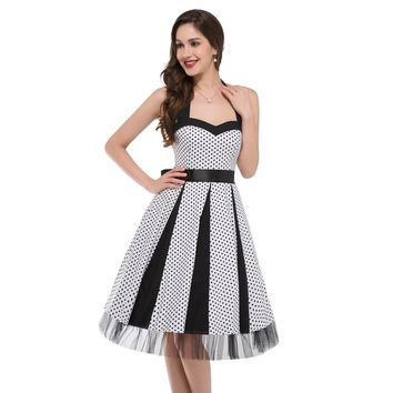 New Cheap Womens Vintage Pinup Rockabilly Polka Dot Casual Work Short Robe Cocktail Dresses Wiggle Party Dress