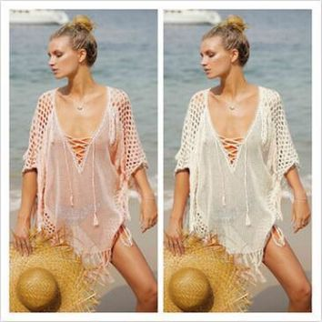 2 Colors Sexy Beach Cover Ups Free Size Loose Knitted Beach Cover- Ups Beach Swimsuit Bikini Cover Dresses CCA8786 10pcs