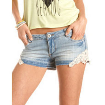 Crochet Trim Denim Short: Charlotte Russe