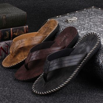 Men PU Leather Flip Flops British Style Bordered Beach Sandals Slippers