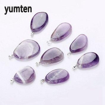 Yumten Natural Amethyst Pendant Amethyst Charm Stone Jewelry Gemstones Gifts Chain Irregular Pendant Ribbon Rope Jewelry Cure