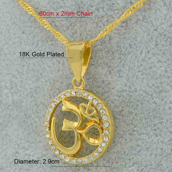 Hindoo Jewelry OHM Hindu Buddhist AUM OM Pendant Necklace Hinduism Yoga India Outdoor Sport Chain - Gold Filled Plated Women's