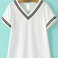 White V Neck Short Sleeve Embroidered T-Shirt