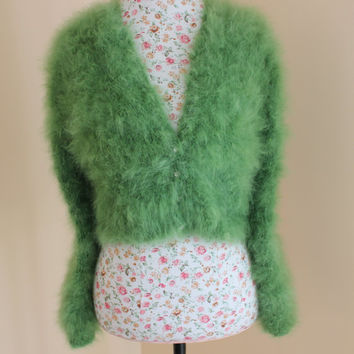 Green Wedding Bolero 100% angora rabbit Handmade very FLUFFY Kate Middleton Angora Shrug / Bolero Will fit size Small, Medium, Large