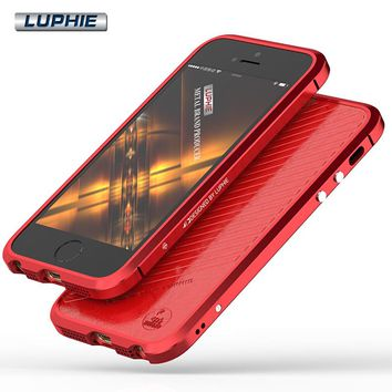 For iPhone SE Luxury Original Brand Luphie Aluminum Metal Bumper For Apple iPhone 5S 5 Case Column Shape Frame With Metal Button