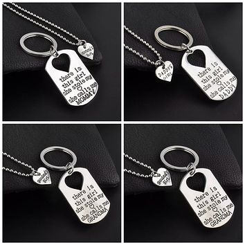 Family Keychain and Necklace Set - Mommy, Daddy, Grandma, Grandpa
