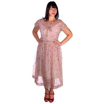 Vintage Dress Sheer Nylon Plisse Print Brown & White Toni Todd 1950s 38-30-Free