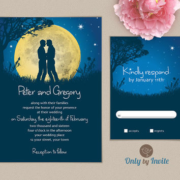 Gay Wedding Invitation | Starry Moon Night Same Gender Wedding Invitations | Groom and Groom | Bride and Bride