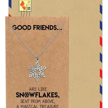 Aprille Snowflakes Charm Necklace, Gifts for Christmas, Birthdays and Party