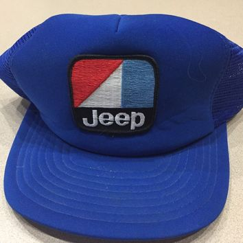 Vintage 1980s JEEP Snapback Trucker Mesh Hat Cap Embroidered Patch Blue