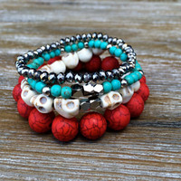 Skull Bracelet Stackable Bracelets Beaded Bracelets Stretch Bracelets Red Turquoise Cream Silver Arm Candy Cute Hipster Gift Ready To Ship