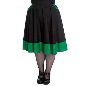 Hell Bunny Vampiress Black Green Bat Goth Punk Rockabilly Skirt