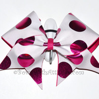 "3"" Wide Luxury Cheer Bow - Hot Pink and White Polka Dot"