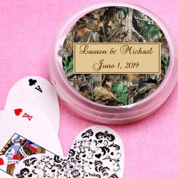 12 Camouflage Bridal Shower and Wedding Deck of Cards Favors
