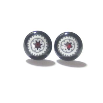 Murano Glass Large Millefiori Red Star Black Sterling Silver Post Stud Earrings