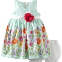 Nannette Baby-Girls Newborn 2 Piece Printed Woven Dress And Panty, Green, 6-9 Months