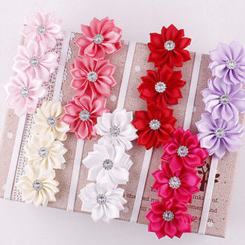 Baby Girl Headband Soft Ribbon Flower Hair Band 7 Colors Dream on 3C&