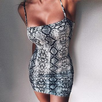 Ladies Leopard Bodycon Sleeveless Mini Dress {}