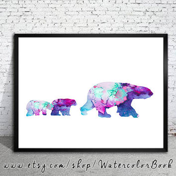 Bear Family Watercolor Print, watercolor painting, watercolor art, Illustration,  home decor wall art,bear art, watercolor animal, Grizzly