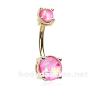 Pink Golden Opal Sparkle Prong Set 14ga Belly Button Ring Navel Ring Body Jewelry