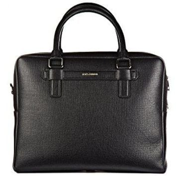 Dolce&Gabbana briefcase attaché case laptop pc bag leather vit palmellato black