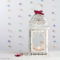 Unique Wedding Lantern, Moroccan Home Decor, Lantern Centerpiece, Filigree White with Silver Metal Candle Holder
