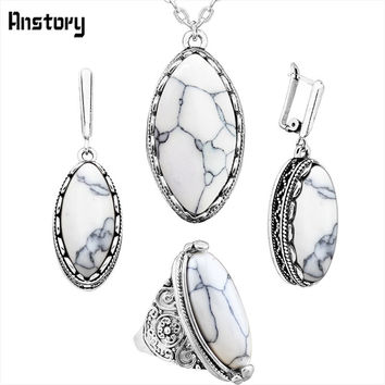 Anstory Eye Shape Stone Jewelry Sets 4 Colors Necklace Earrings Rings For Women Antique Silver Plated Stainless Steel Chain Gift