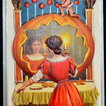 Halloween Postcard, Woman in Pumpkin Mirror, Halloween Card, Halloween Ephemera, Antique Postcard, Conwell Halloween