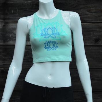 Fitted Crop Top  - Blue Lotus Flower Design - Glow in the Dark - Double Sided - Yoga Wear