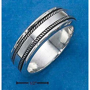 Sterling Silver Ring:  Mens Worry Ring With Coin Edge Spinning Band
