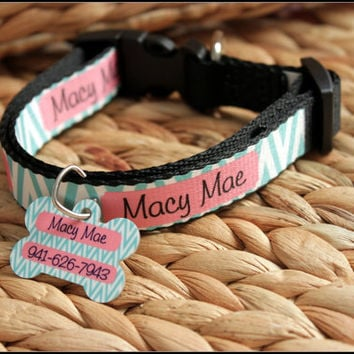 Personalized Dog Collar Dog Tag Pet ID Tag Combination Set Adjustable Custom Dog Collar Personalized Monogrammed ID Gift Pet Lover Monogram