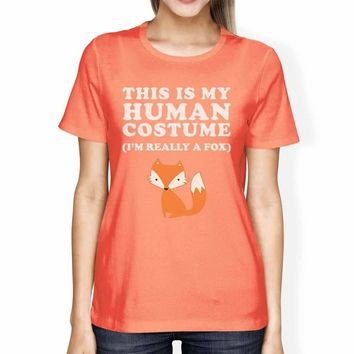 This Is My Human Costume Fox Womens Peach Shirt