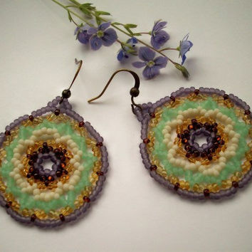 Seed Beaded Earrings Sap Moon Mandala by RaptorRidgeOriginals