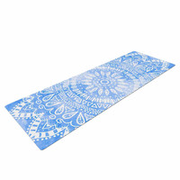 "Nika Martinez ""Boho Flower Mandala in Blue"" Aqua Yoga Mat"