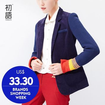 Toyouth Women Single Button Blazer Short Design Cotton Long-Sleeve Slim Blazer Color Block Patchwork Women Blazers