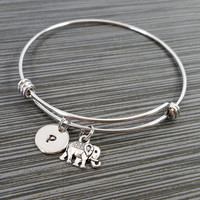 Elephant Bangle - Tiny Elephant Charm Bracelet - Expandable Bangle - Charm Bangle - Totem Bracelet- Initial Bracelet - Personalized Bracelet