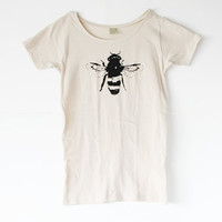 Womens Bee Shirt - Honey Bee - Natural White Alternative Apparel - Organic shirt - Small, Medium, Large, XL- Clothing