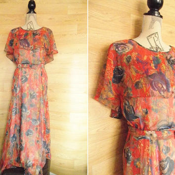 70's Red Sheer Maxi Dress Cape Dress Butterfly Sleeve Dress Angel Sleeve Romantic Dress Boho Dress Bohemian Clothing Hippie Dress Hostess