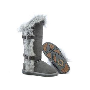 ICIKIN2 Ugg Boots Outlet Fox Fur tall 1984 Grey For Women 95 95
