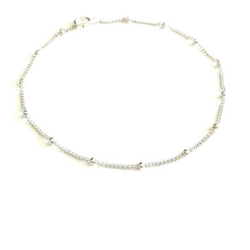 Silver Anklet - Satellite chain