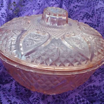 KIG Malaysia Pink Covered Candy Dish ? Bowl - Heart & Rose Pattern-Depression Glass