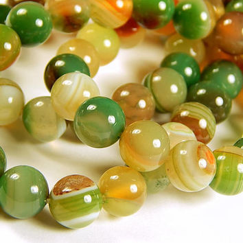 14-1/2 Inch Strand - 10mm Round Multicolor Botswana Agate Beads - Striped Agate - Gemstone Beads - Jewelry Supplies