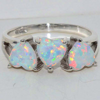 3 Opal Heart Ring .925 Sterling Silver Rhodium Finish